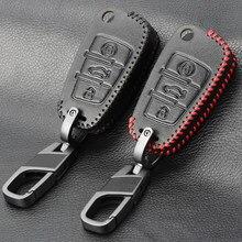 Novo design de couro caso da capa de proteção da chave do automóvel para audi c6 a7 a8 r8 a1 a3 a4 a5 q7 a6 c5 carro titular escudo-estilo