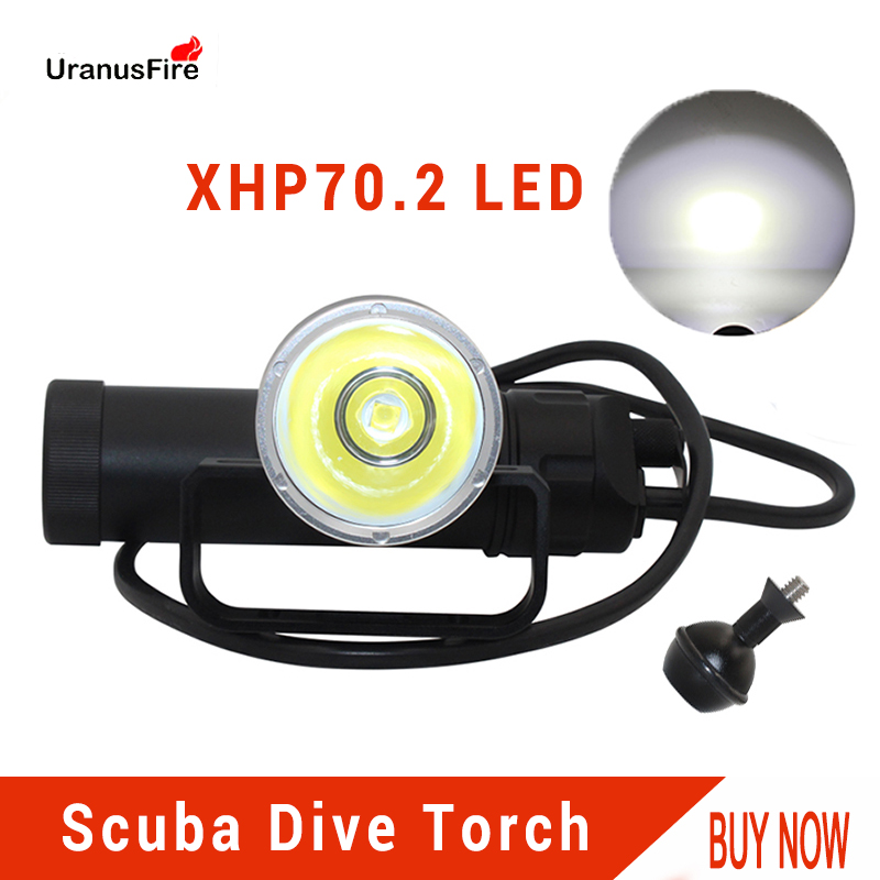 Uranusfire XHP70.2 LED Canister Dive Lamp light 4000lm Waterproof Diving Flashlight Underwater Video Torch powered by 8*18650