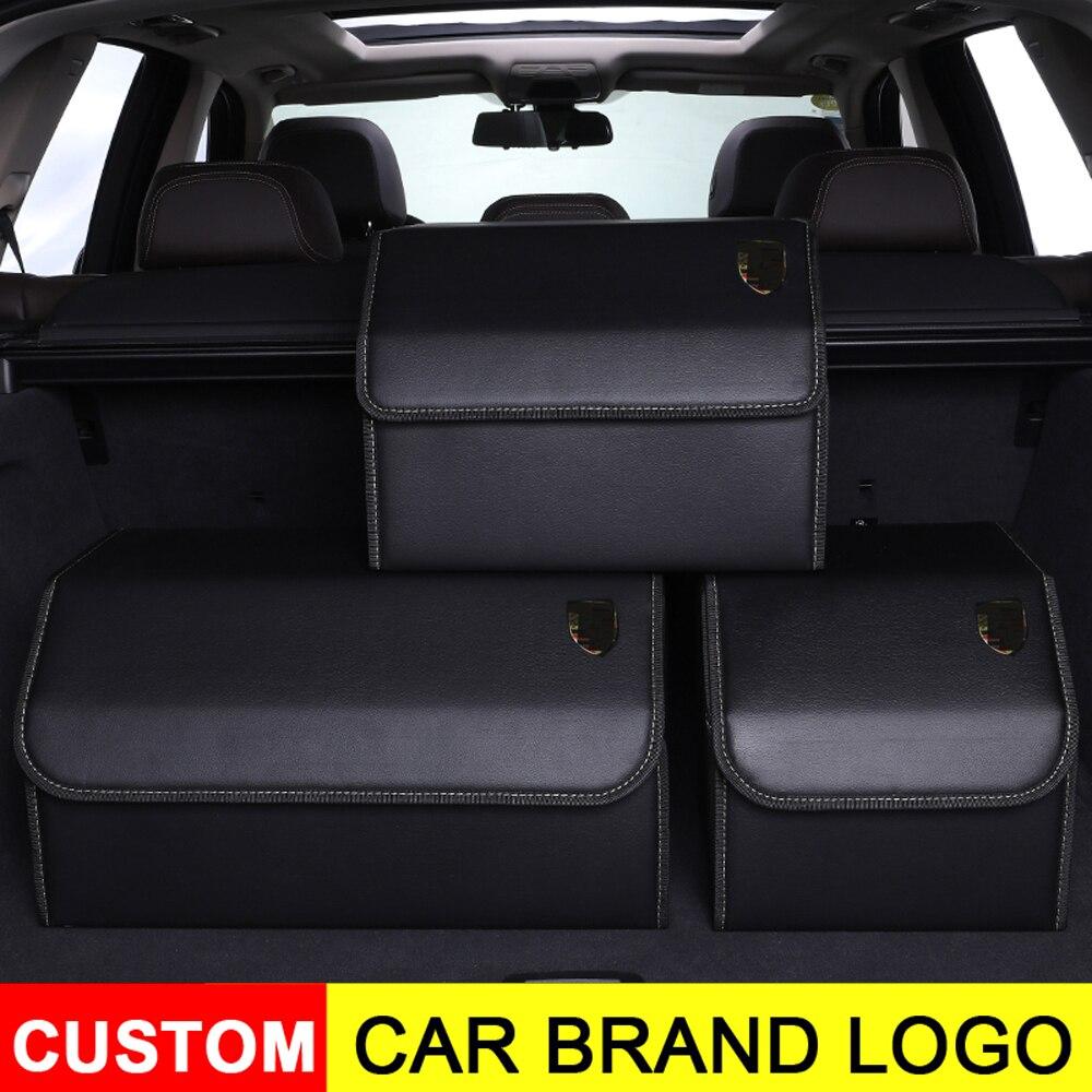 Universalรถโลโก้หนังTrunk Organizerกล่องเก็บกระเป๋าสำหรับAudiสำหรับBmwพับTrunkกระเป๋าสำหรับPorsche Ford Mercedes benz