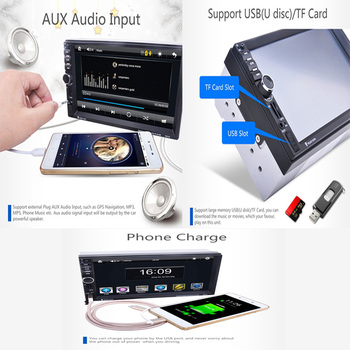 7 2DIN MP5 Player Bluetooth Stereo AUX USB TF Touch Screen Car Radio Remote GPS image