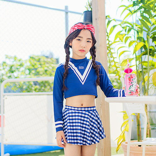 2019 CHILDREN'S Surf Clothes Beach Set 4-12-Year-Old Girls Long Sleeve Skirt-Two-piece Swimsuits Swimming Trunks Sun-resistant S