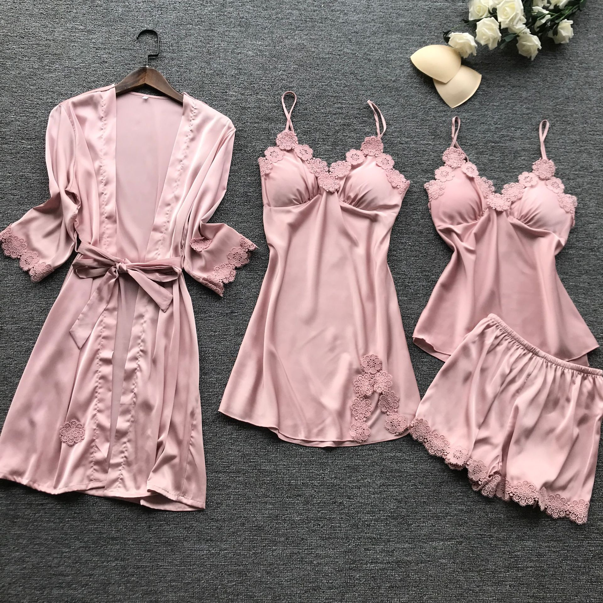 2019 Women Pajamas Set Satin Pyjama Sexy Lace Pijama Mujer Sexy Lingerie Elegant Nightwear Silk 4 Pieces Flower Print Sleepwear