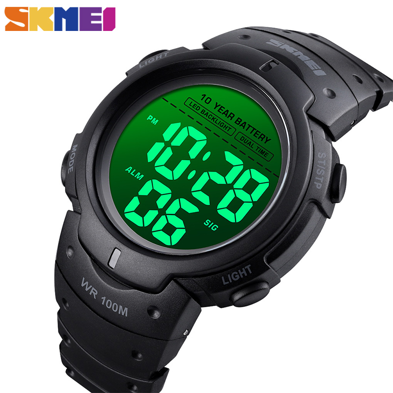 SKMEI Sport Fitness Watches Mens Digital 100M Waterproof Wrist Watch Men 2 Time 10 Year Battery Alarm Clock Reloj Hombre 1560