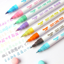 1 Pcs Color Highilghters Pen Two-line Fluorescent Marker Metal Two-color Writing Office School Stationery