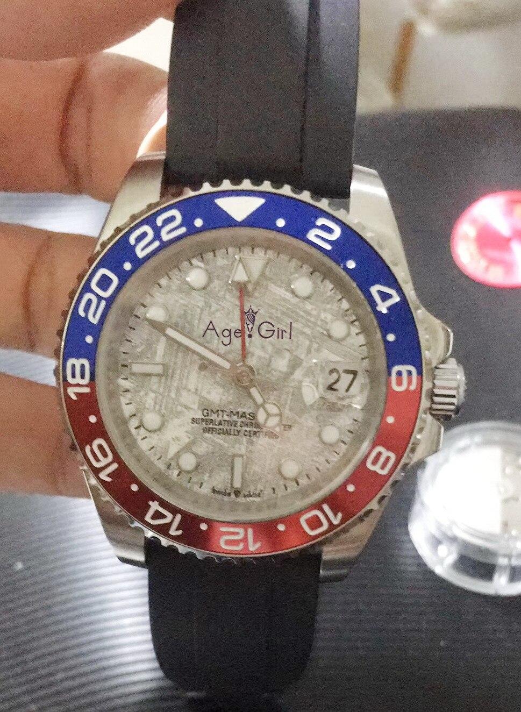 Luksusowa marka nowych mężczyzn automatyczny zegarek mechaniczny czerwona czarna guma ceramiczna ramka szkiełka zegarka Duale GMT II ze stali nierdzewnej Sapphire Luminous