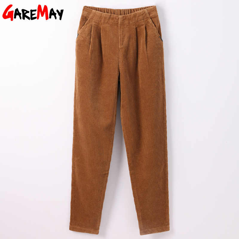 Garemay Trousers Women Elastic Waist Loose Casual Pant Large Size High Waist Wide Leg Pants Women Corduroy Harem Pants For Woman