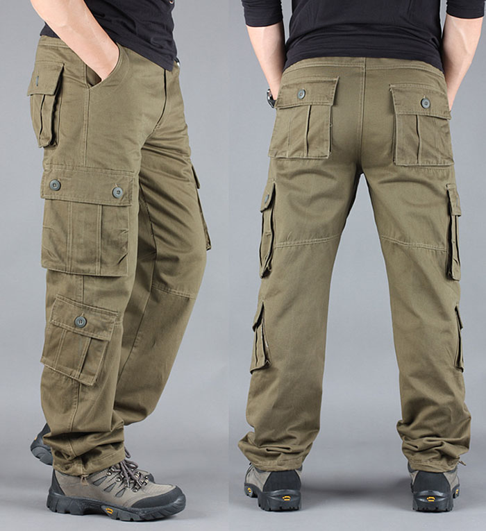 FALIZA Men's Cargo Pants Multi Pockets Military Style Tactical Pants Cotton Men's Outwear Straight Casual Trousers for Men CK102 42