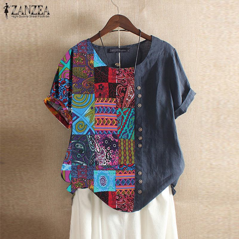 2020 ZANZEA Women's Printed Patchwork Blouse Kaftan Linen Tops Casual O Neck Blusas Female Short Sleeve Shirts Plus Size Tunic