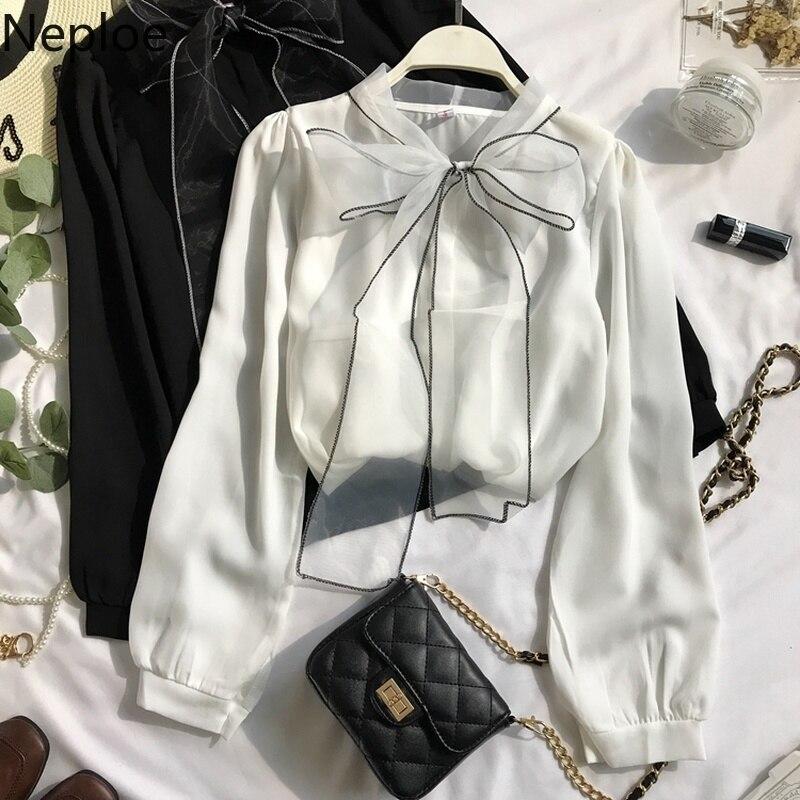 Neploe 2021 New Spring Autumn New Elegant Lace Up Bow Blouse Women Lantern Long Sleeve Solid Chiffon Shirt Slim Fit Blusas 47027|Blouses & Shirts| - AliExpress