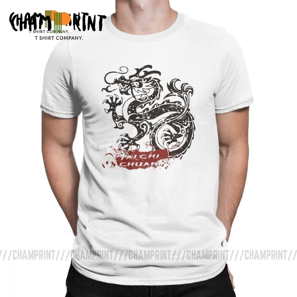 Мужские футболки Tai Chi Chuan Dragon Crazy 100% хлопковая футболка футболки с коротким рукавом с круглым вырезом одежда подарок идея