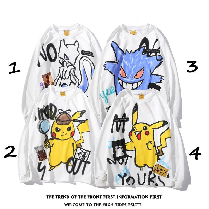 Pokemon Cute Pikachu Hoodies Men Women Funny Pullover Hooded Cartoon Sweatshirts Hip Hop Streetwear Casual Tops Jackets Coat