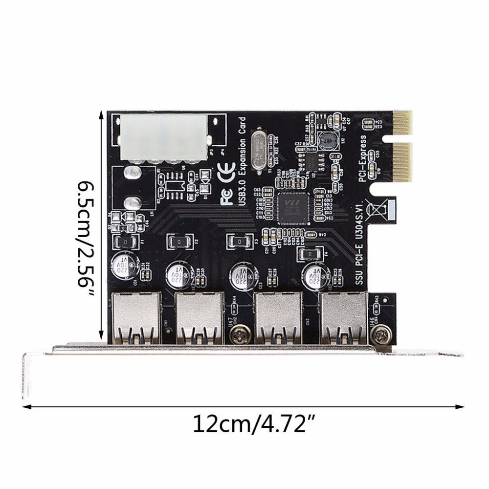 4 Port PCI-E to USB 3.0 HUB PCI Express Expansion Card Adapter 5 Gbps Speed For Desktop Computer Components Brand lsDcbss 6