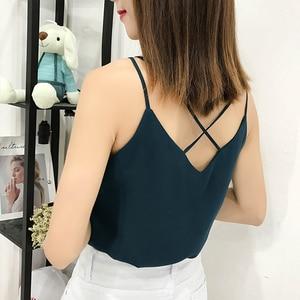 Image 4 - Korean Fashion Chiffon Women Camis Streetwear Sexy Tops Lace Sleeveless Black Female Tank Tops Plus Size XXXL/4XL Pink Shirt
