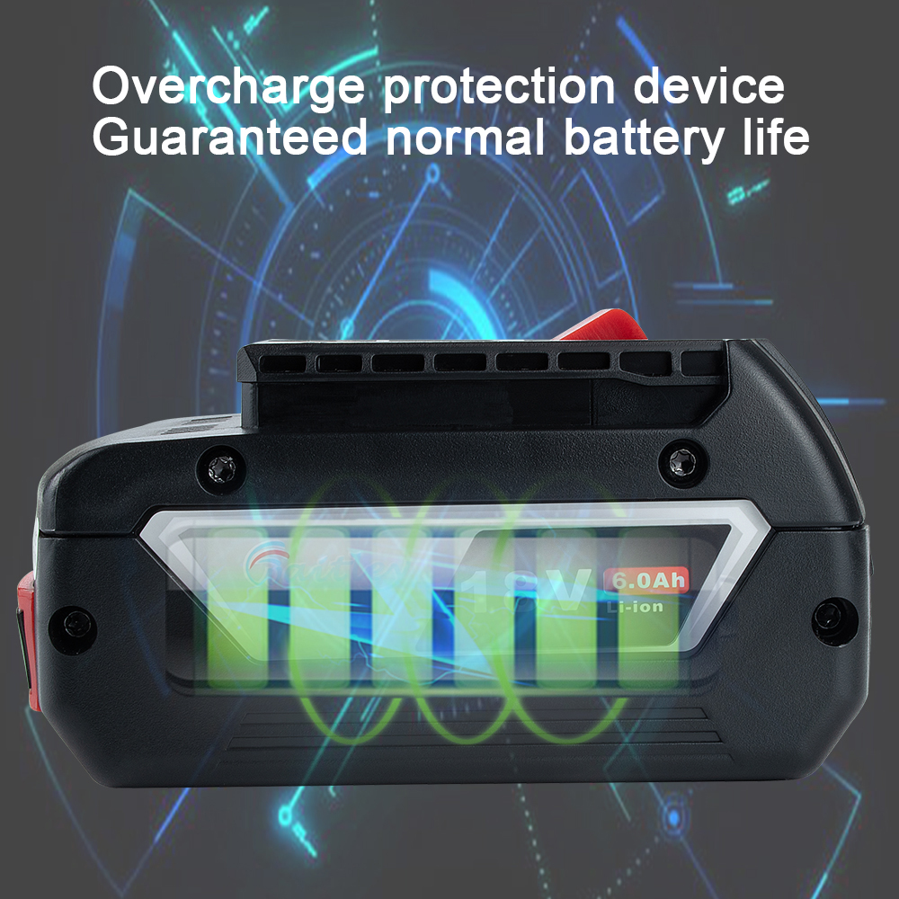 Waitley 18V 6.0A Rechargeable Li-ion batterie pour Bosch 18V outil électrique de secours 6000mah Portable remplacement BAT609 indicateur lumineux - 2