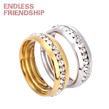Endless Friendship Silver Golden Classic Lover Ring Fashion Couple Diamond Design For Woman anillos mujer Wedding Gift