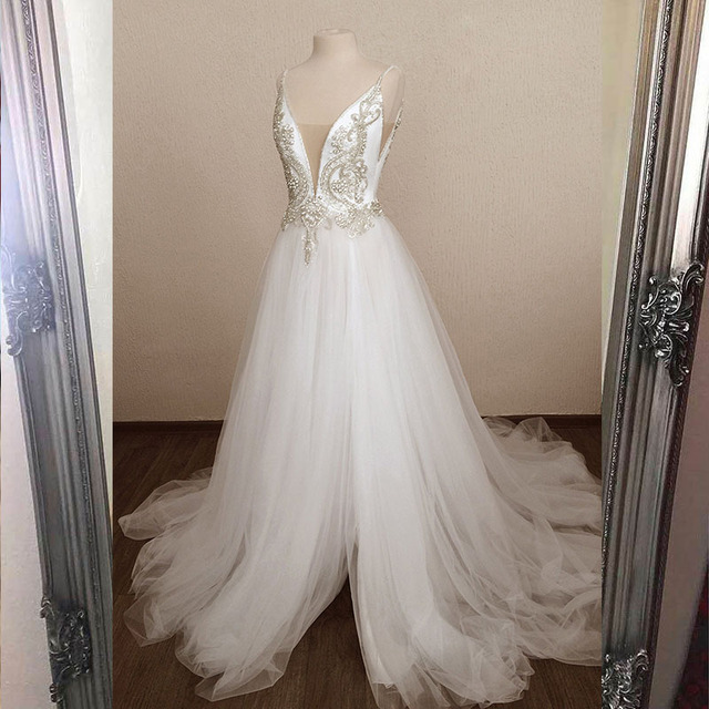 2020 Amazing White Long Prom Dresses Sparkling Stones Sexy A line Party Dress Tulle Slit Left Formal Dance Ball Gowns YQLNNE