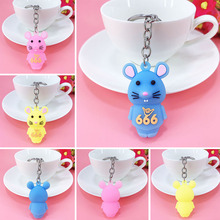 New PVC cartoon soft plastic mouse key ring pendant girl bag car key ornaments fashion girl bag pendant fan shape tassels key chain car ornaments