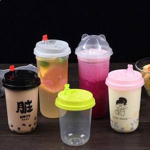 50 шт Высокое качество 90 Калибр u-образная прозрачная одноразовая кофейная чашка 500 мл молочный чай сок соевая упаковка жесткие пластиковые с...