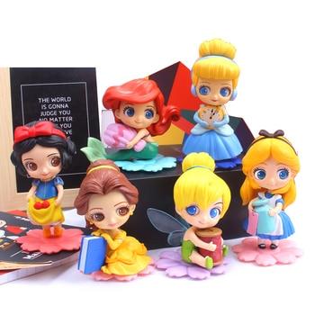 Disney Cute Princess Q Posket Princess Action Figures PVC Model Dolls decor birthday party Kids Toy Photo Props недорого