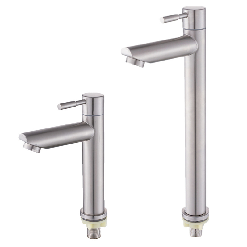 Stainless steel bathroom faucet basin mounted deck only cold tap rust and corrosion resistance of bathroom water tapBasin Faucets   -