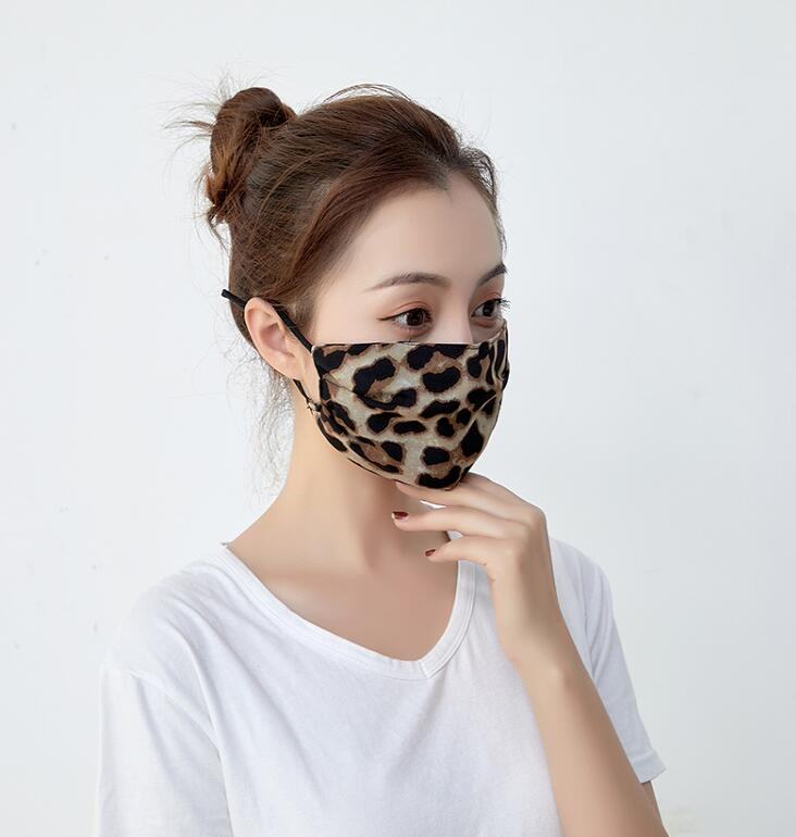 Men Women's Leopard Print Chiffon Mask Male Lady's Breathable Sunscreen Riding Dust Protection Cotton Mouth-muffle R2898