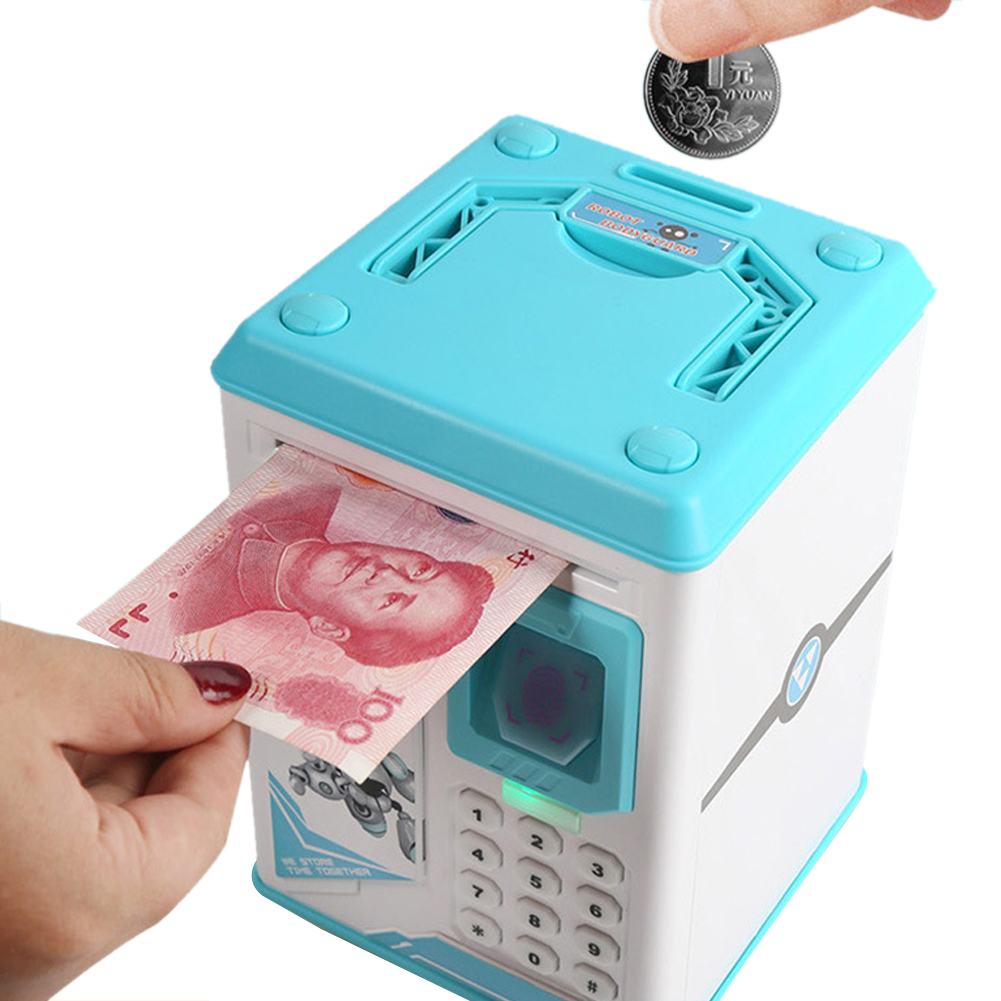 Electronic Piggy Bank ATM Password Money Box Fingerprint Coin Money Saving Box ATM Bank Cash Coin Safe Box Deposit Banknote
