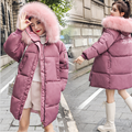winter new female hooded cotton coats fashion Korean style white pure color thick down jacket loose pink green women's coats