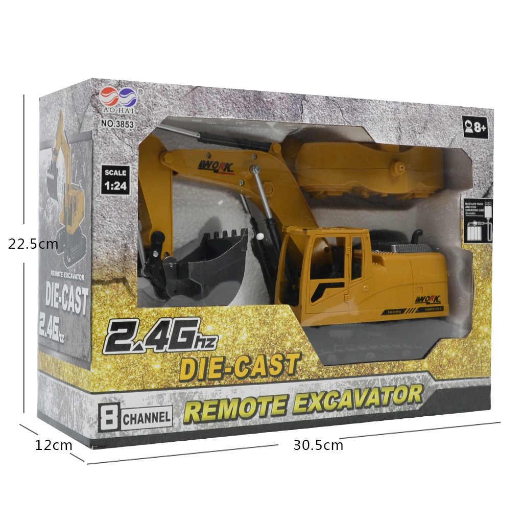 Rc Legering Techniek Voertuig Auto Speelgoed Voor Jongen Hydraulische Crawler Graafmachine Afstandsbediening Truck Model Machine Op De Radio 10CH