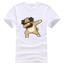 New 2019 Summer Fashion DABBING PUG Tshirt Male Hip Hop Dog Tops Tee Shirts Streetwear Funny T Shirt Men Harajuku Men's T-shirts цена