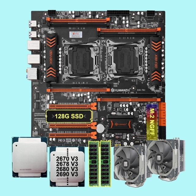 X99-F8D Dual CPU Motherboard with 128G NVMe SSD DIY 2 Xeon CPU 2670 2678 V3 2680 2690 V3 CPU Coolers RAM 16G DDR4 2400 REG ECC 1