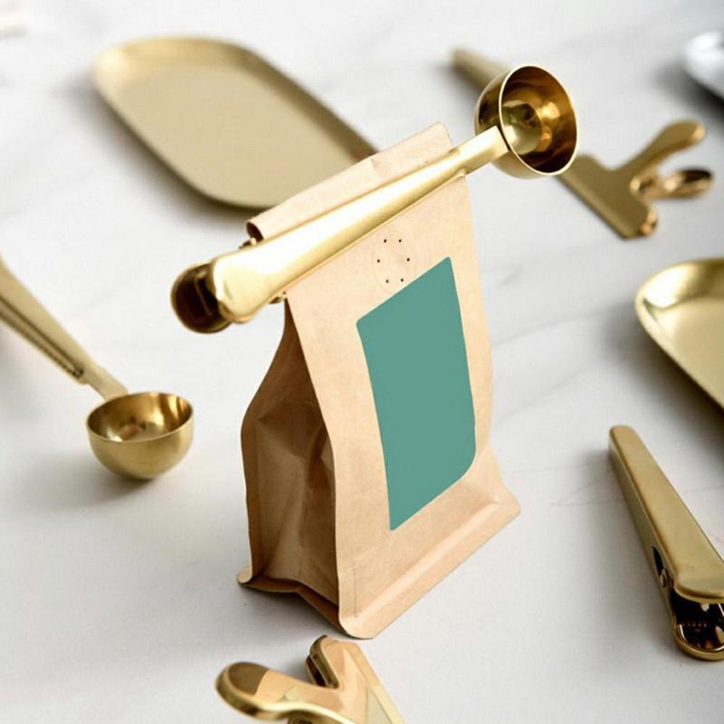 Ложка для кофе из нержавеющей стали с зажимом для мешков, герметичный совок, кухонные инструменты для чая, Встроенный зажим для пакетиков, хорошая герметизация|Кофейные совки|   | АлиЭкспресс