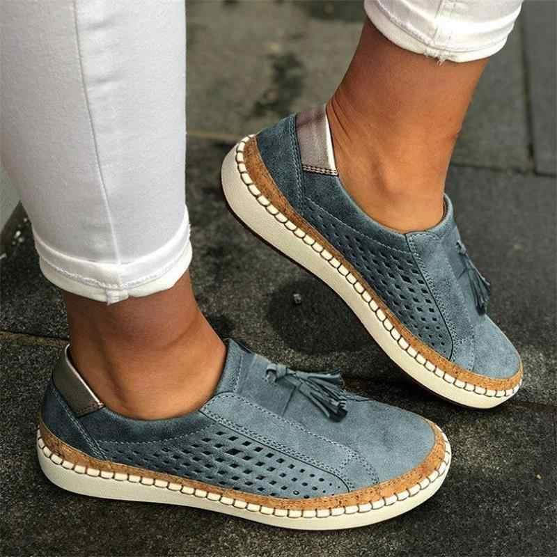 Yeni kadın ayakkabısı oymak kadın ayakkabı çizgili vulkanize nefes elastik Retro rahat daireler uygun geniş bacak kadın spor ayakkabı