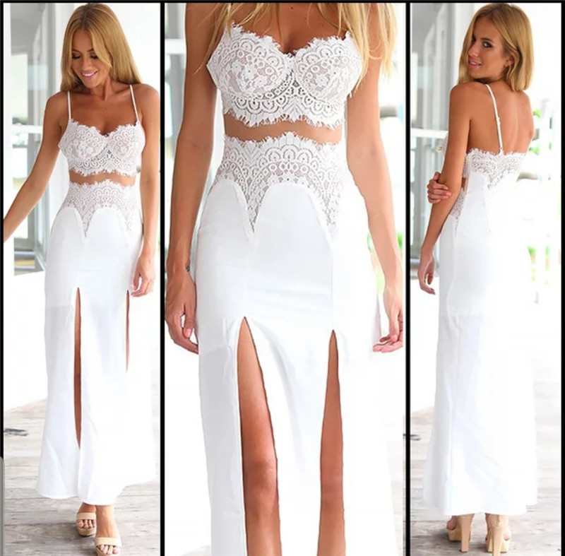 Sexy Women Two Pieces Lace V-neck Floral Strap Tabk Vest Crop Tops High Waist Split Skirt Side Split Long Maxi Skirt Women Dress