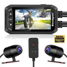 купить Blueskysea 2.7 LCD DV128 Motorcycle Dual DVR Camera HD Waterproof GPS Dash Cam 1080P G-Sensor Moto Night Vision Camera дешево