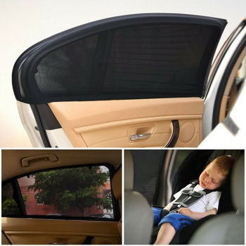 New 2pcs Car Rear Side Window UV Sun Prevent Sunshine Blocker Cover Shade Mesh Auto Exterior Sunshade Kids Protect 52x110cm image