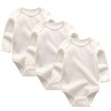 Bodysuit Newborn Girls Boys Cotton Autumn Solid 3pcs/Lot White
