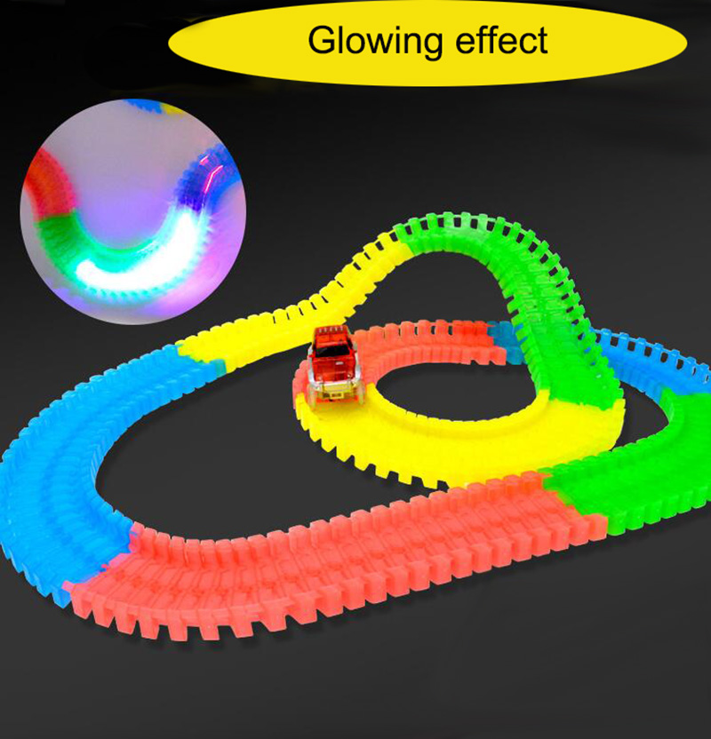 Luminous Electric Railway Magical Racing Track Accessories Circuit Car Toy Kid Assembling Educational Toy Rail Car Race Tracks