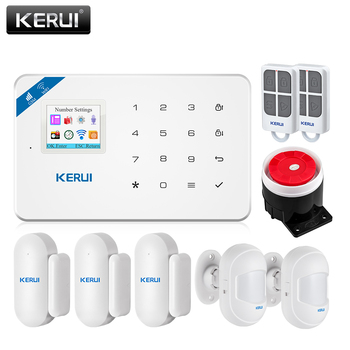 KERUI W18 Wireless WiFi GSM Home Security Alarm System Android ios APP Control Burglar Alarm System with Mini PIR Motion Sensor kerui w18 tft screen wifi gsm home security alarm system pir motion detector app control door window detector alarm system kit