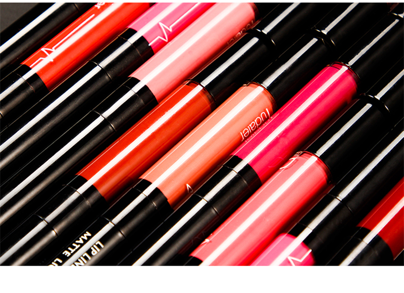 16 Color Double-ended Lipstick Waterproof Long Lasting Matte Lip Stick Liner Pencil Red Lips Makeup Liquid Lipsticks Lipliner