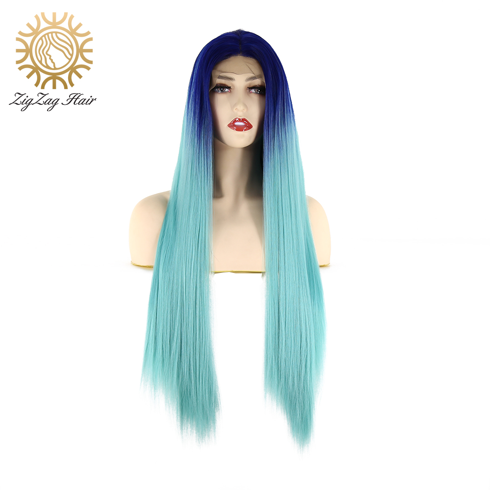 ZigZag Long Straight Wig 2Tone Blue Ombre Light Blue Synthetic Lace Front Wig for Black Women Glueless Heat Resistant Fiber Hair