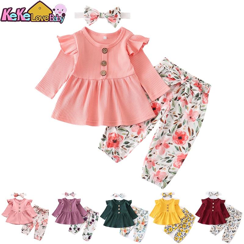 Bebê recém-nascido roupas da menina conjunto sólido tricô manga longa topos floral imprimir calças bandana 3pcs roupas casuais infantis
