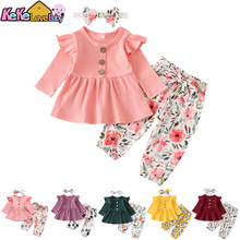 Newborn Baby Girl Clothes Set Solid Knitting Long Sleeve Tops Floral Print Pants Headband 3Pcs Outfits Casual Infant Clothing
