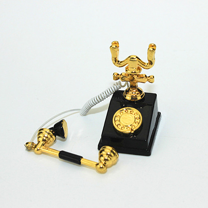 High Quality 1:12 Miniature Phone Model Alloy Vintage Retro Rotary Telephone Dollhouse Decoration Accessories (Have A Gift)