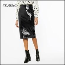 Midi Skirts Split Faux-Leather Vintage Office Lady High-Waist Fashion Women Chic Straight