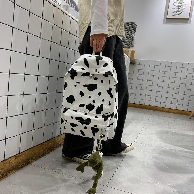 Spot Printing Backpacks Large Capacity Canvas Rucksack Women School Bag Sac A Dos Mochila Feminina Mujer Sac A Main Outdoor Bags