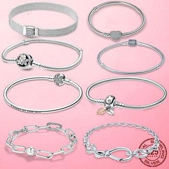 TOP SALE Pulseira Bracelet Femme 925 Sterling Silver Heart Snake Chain Bracelet For Women Fit Original Charm Beads Jewelry Gift 1