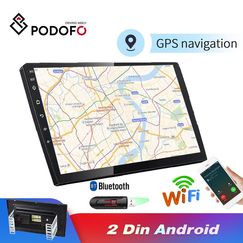Podofo 2 Din Android Car Radio Stereo GPS Navigation Bluetooth WIFI 10'' 2din Car Radio Stereo Quad Core Multimedia Player Audio