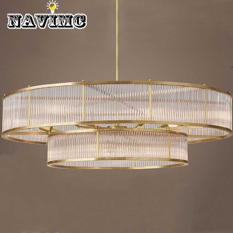 Американская простая стеклянная люстра, Скандинавская индивидуальная вилла, лампа для гостиной, Современная креативная Европейская круглая хрустальная лампа, освещение