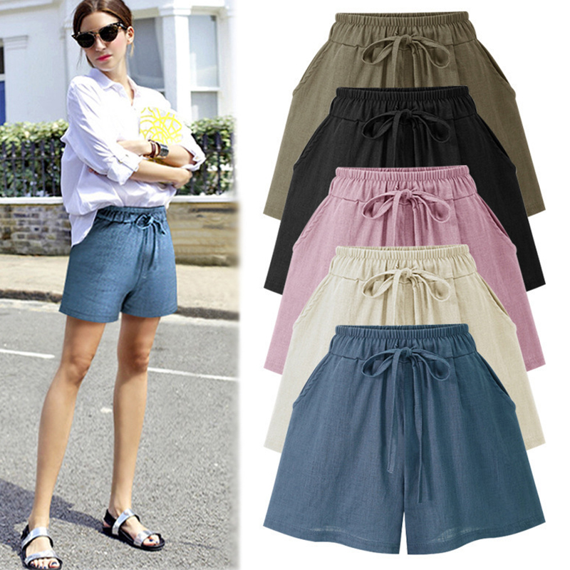 Solid Hight Waist Width-leg Shorts Women Plus Size Loose Breathable Sport Shorts Korean Female Streetwear Simple Wild Shorts New