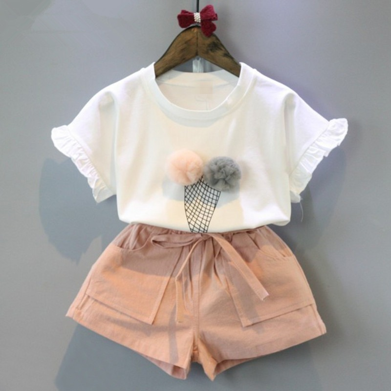 Комплект из 2 предметов для маленьких девочек, комплект одежды, наряд для девочки, Детские рубашки для мальчиков, шорты, комплект, детская од...